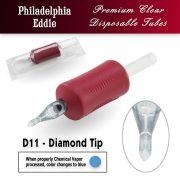 "Eddie's 11 Diamond Tip Disposable Tube - 1.25"" Soft Red Grip"