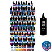 Intenze 101 Color and Zuper Black Tattoo Ink Set - 1 oz